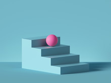 3d Render, Abstract Minimal Background. Pink Ball Placed On Blue Steps, Isolated Stairs. Blank Pedestal, Empty Podium. Architectural Element, Primitive Shape. Product Showcase, Shop Display