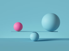 3d Render, Balancing Balls Placed On Scales Or Weigher, Isolated On Blue Background. Primitive Geometric Shapes. Balance Metaphor. Modern Minimal Concept