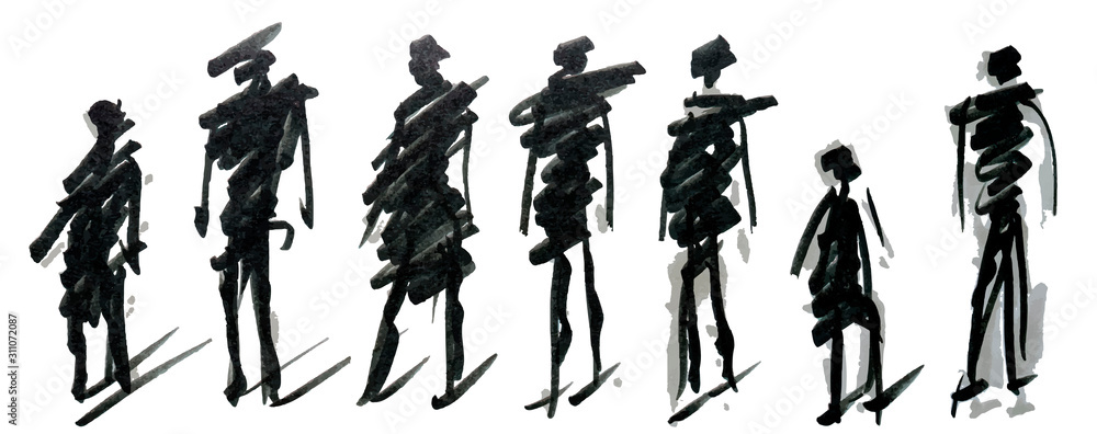Fototapeta Set of pedestrians figure different poses, hand drawn marker sketch. Template for drawing аnd scetch eps10 vector illustraion.