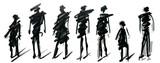 Zestaw pieszych rysunek różne pozy, ręcznie rysowane marker szkic. Szablon do rysowania i szkicu ilustracji wektorowych eps10.