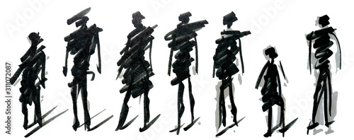 Obraz Set of pedestrians figure different poses, hand drawn marker sketch. Template for drawing аnd scetch eps10 vector illustraion. - fototapety do salonu