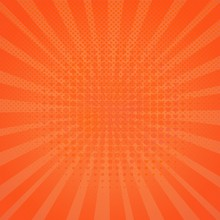 Circle Halftone Pattern / Texture.Monochrome Round Hot Orange Dots In Circle.Decreasing Abstract Points Wallpaper.Pop Art Bright Dotted Polka Dots Spherical Comic Poster Background With Sun Rays Lines