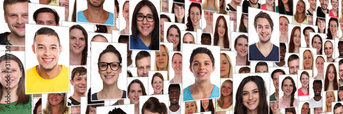 Fototapeta People background group of multiracial young smiling happy faces large panorama