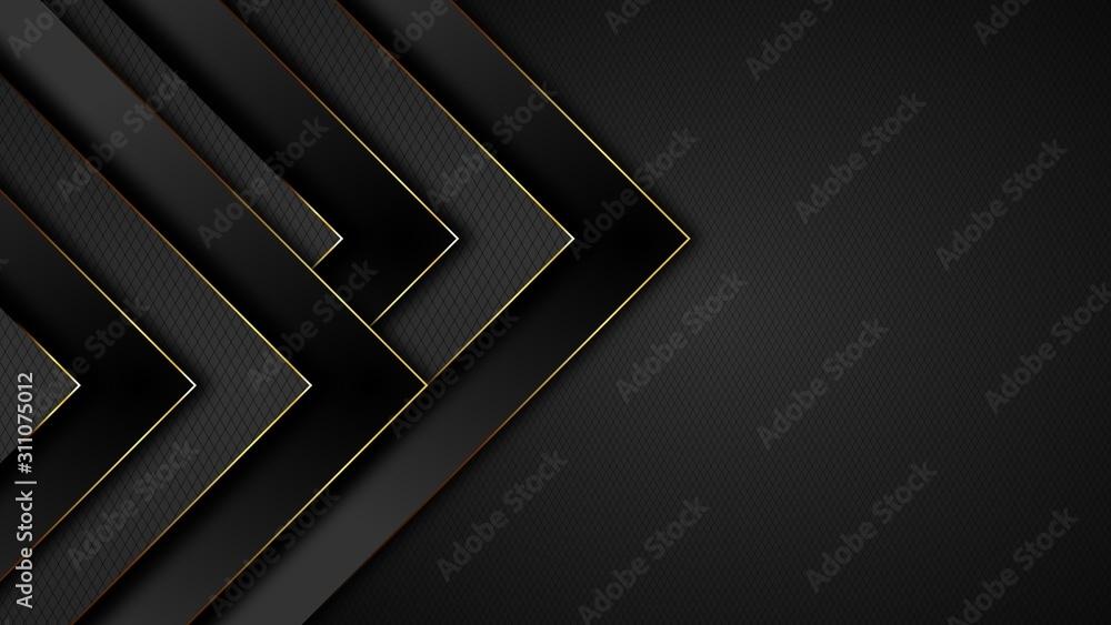 Fototapeta Abstrakter Hintergrund in schwarz und gold. Grafisches Design für Buch, Prospekt, Vorlage, Webseite, Poster, Verpackung. Mit Text-Freiraum