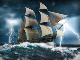 Jedrenjak koji se mukom muči u jakoj oluji