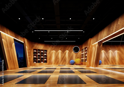 3d render yoga and gym center