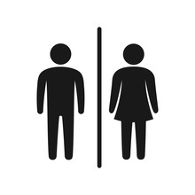 Toilet Icon Vector, Wc Symbol, Simple Man And Woman Symbol.