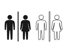 Toilet Icon Vector, Wc Symbol, Simple Man And Woman Symbol.
