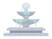 Tiered Fountain Vector Icon Flat Isolated