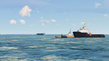 Ship In Ocean, Sea Ship, 3D Re...