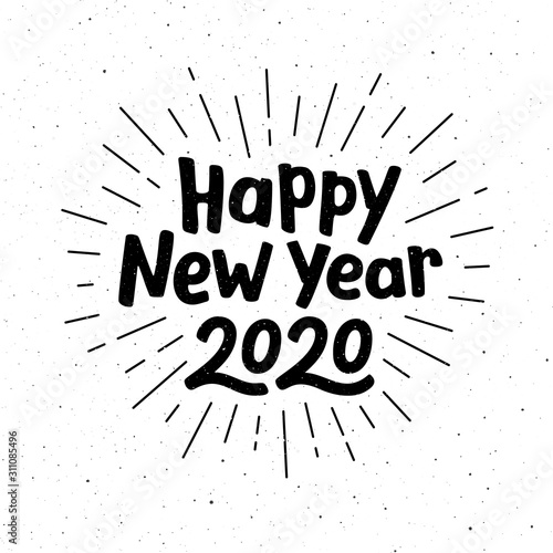 Cuadros en Lienzo Happy New Year 2020 typography for vintage greeting card