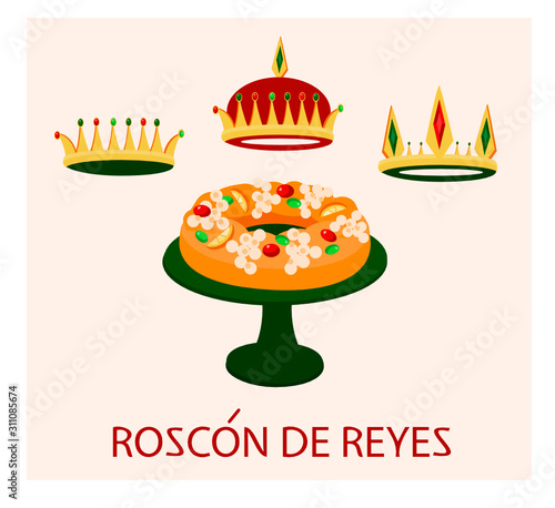 festive Christmas illustration of King's Cake on stand, traditional Spanish pastry Roscon de Reyes Canvas Print