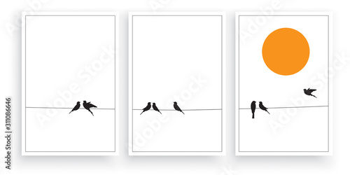 Cuadros en Lienzo  Birds silhouettes on wire on sunset / sunrise, vector