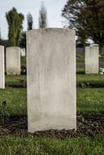 Generic Blank Gravestone In A Cemetery Churchyard.