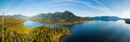 Fototapeta Beautiful Aerial Panoramic View of Kennedy Lake during a vibrant sunny day. Located on the West Coast of Vancouver Island near Tofino and Ucluelet, British Columbia, Canada. obraz