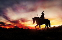 Indian Of America On Horseback At Sunset