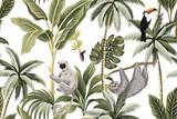 Tropikalne zwierzęta vintage, tukan, palmy, bananowiec kwiatowy wzór bezszwowe białe tło. Tapeta egzotycznej dżungli. - 311094850