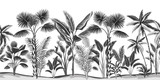 Tropikalny vintage botaniczny krajobraz, palmy, drzewa bananowego kwiatowy wzór bezszwowe białe tło. Egzotyczna czarno-biała tapeta z dżungli. - 311094883