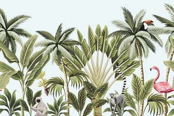 Panel Szklany Drzewa Tropical vintage animals, toucan, flamingo, palm trees, banana tree floral seamless border blue background. Exotic jungle wallpaper.