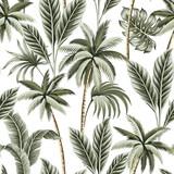 Tropikalne rocznika hawajskie palmy, banan i palmy pozostawia kwiatowy wzór białe tło. Tapeta egzotycznej dżungli. - 311095012