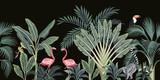 Tropikalne rocznika dzikie zwierzęta, ptaki, palmy, drzewa bananowe i roślin kwiatowy bezszwowe granica czarne tło. Tapeta egzotycznej dżungli. - 311095017
