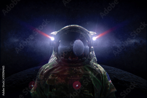 Photo Space Force soldier in camouflage suit on the moon 3d render