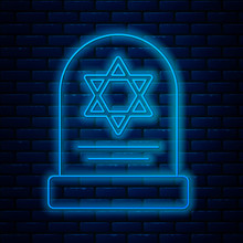Glowing Neon Line Tombstone With Star Of David Icon Isolated On Brick Wall Background. Jewish Grave Stone. Gravestone Icon. Vector Illustration