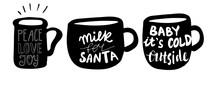 Set Of Christmas Lettering Mug Set Handwritten