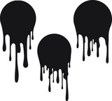 Fototapeta Młodzieżowe - Set of 3 black round decors with paint drips. Vector illustration for your design.