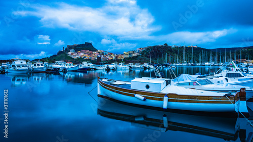Docked yachts at the marina in Castelsardo Wallpaper Mural