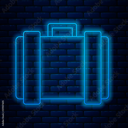 Photo Glowing neon line Military ammunition box with some ammo bullets icon isolated on brick wall background