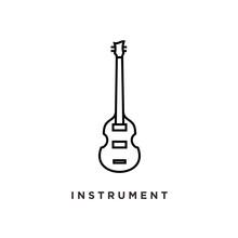Line Art Violin Viola Fiddle Cello Bass Music Instrument Logo Design.