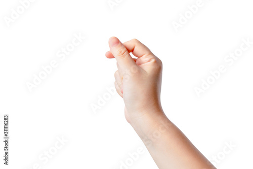 woman's hand is pretending to hold a card or card on white isolated Wallpaper Mural
