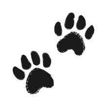 Dog Or Cat Hand Drawn Paw Print.