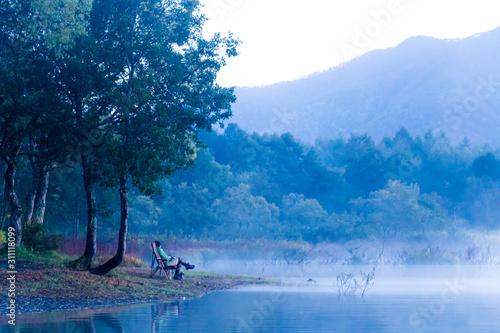 Fototapeta 朝靄に佇む obraz na płótnie
