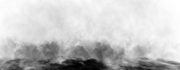 Panoramic view mystic dynamic smoke on isolated background. Design black and white texture freezing effect fog . Stock illustration.