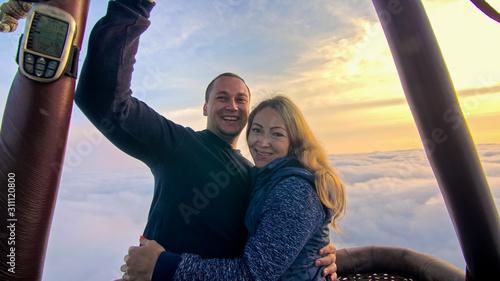 Fotografie, Obraz  Adventure love couple on hot air balloon watermelon