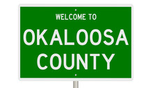 Rendering Of A Green 3d Highway Sign For Okaloosa County