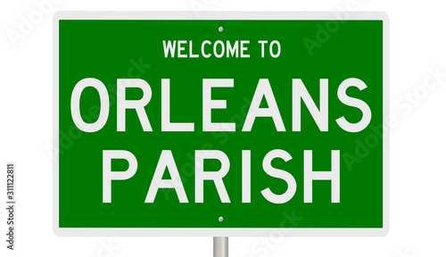 Rendering of a green 3d highway sign for Orleans Parish in Louisiana Wallpaper Mural