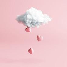 Cloud With Heart Rain On Pastel Pink Background. Creative Idea. Minimal Concept. 3d Rendering