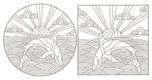 Set Contour Illustrations With Sharks  On The Waves And The Sky , The Dark Outline On A White Background