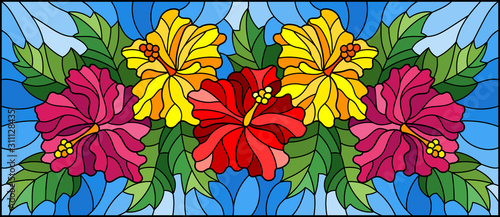Naklejka kwiaty na szybę  illustration-in-stained-glass-style-with-flowers-and-leaves-of-hibiscus-on-a-blue-backgro