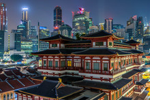 Buddha Tooth Relic Temple With Skyscraper Buildings Background, Singapore