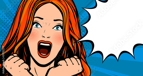 Fototapeta Beautiful girl screams with delight. Pop art retro comic style. Cartoon vector illustration obraz