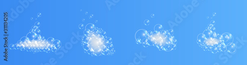 Fotografía  Bath foam soap with bubbles isolated vector illustration on transparent background