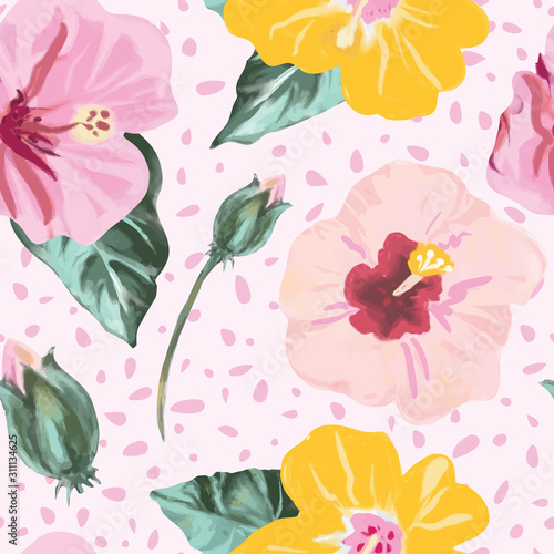 Fotografie, Obraz Tropical painted hibiscus flowers pattern in pink, green and yellow