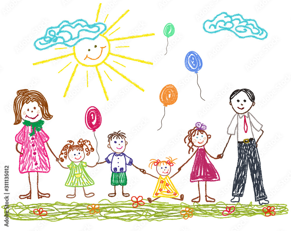 Fototapeta Friendly family with mom dad and children. Children's drawing drawn in crayons