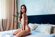 Fashion Portrait Of A Beautiful Woman In Underwear Home In Bedroom Wife