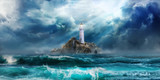 Lighthouse in storm with big waves awaiting tsunami