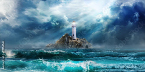 Lighthouse in storm with big waves awaiting tsunami - 311136866